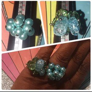 Set of 2 Vintage Summer Beaded Adjustable Rings